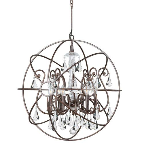 Crystorama Lighting Group Solaris English Bronze Six Light Chandelier with Clear Swarovski Strass Crystal