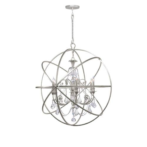Crystorama Lighting Group Solaris Six-Light Olde Silver Chandelier