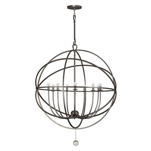 Crystorama Lighting Group Solaris English Bronze Wrought Iron Nine-Light Pendant with Glass Ball Accent