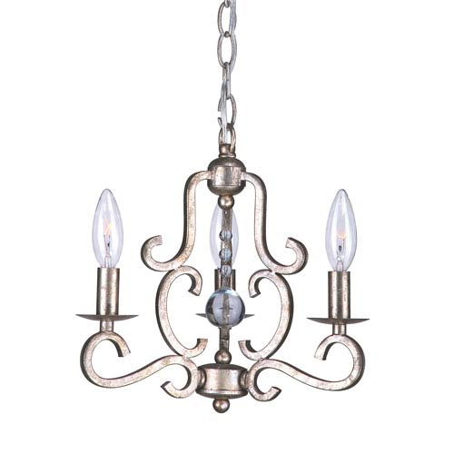 Orleans  Old Silver Three-Light Chandelier with Hand Cut Crystal Beads