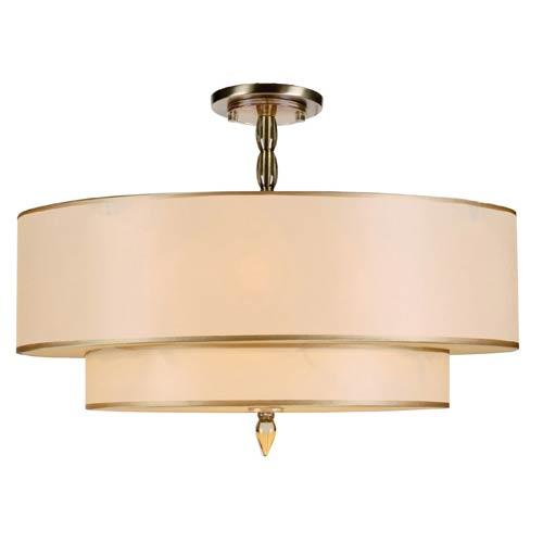 Luxo Antique Brass Five Light Semi-Flush