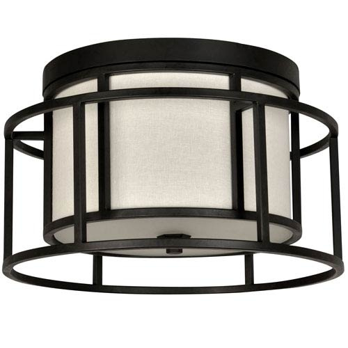 Crystorama Lighting Group Hulton Matte Black Two Light Flush Mount