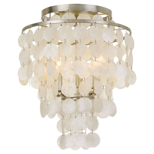 Crystorama Lighting Group Brielle Three-Light Antique Silver Ceiling Mount