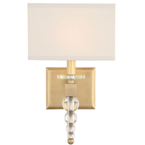 Crystorama Lighting Group Clover One-Light Aged Brass Wall Sconce