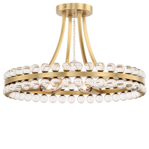 Crystorama Lighting Group Clover Four-Light Aged Brass Ceiling Mount