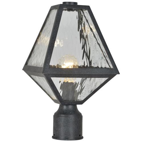 Crystorama Lighting Group Glacier One-Light Black Charcoal Outdoor Lantern Post