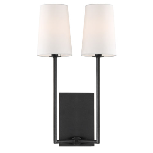 Crystorama Lighting Group Lena Two-Light Black Forged Wall Sconce