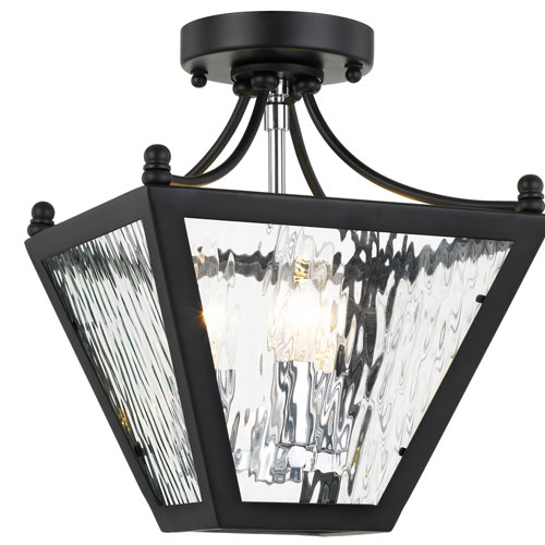 Crystorama Lighting Group Park Hill Three-Light Matte Black and Polished Chrome Ceiling Mount