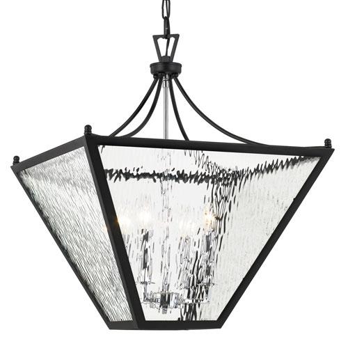 Crystorama Lighting Group Park Hill Four-Light Matte Black and Polished Chrome Lantern