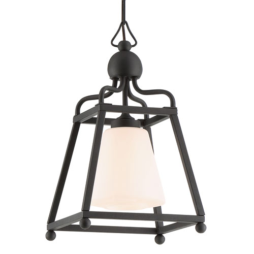Sylvan One-Light Black Forged Outdoor Chandelier
