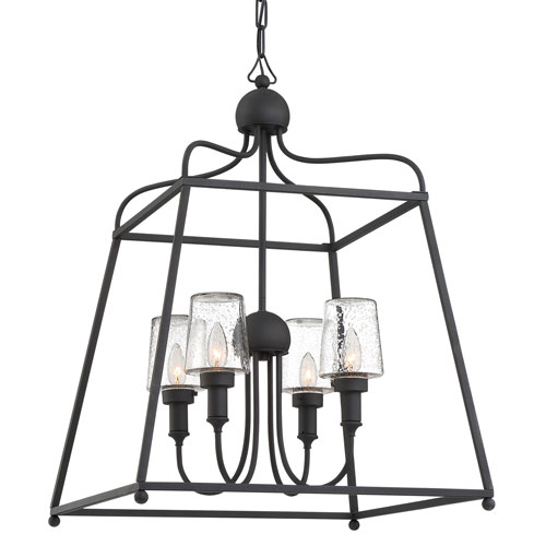 Sylvan Four-Light Black Forged Outdoor Chandelier
