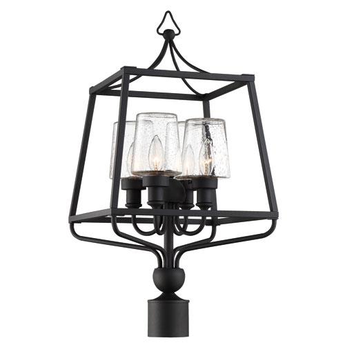 Sylvan Four-Light Black Forged Outdoor Lantern Post