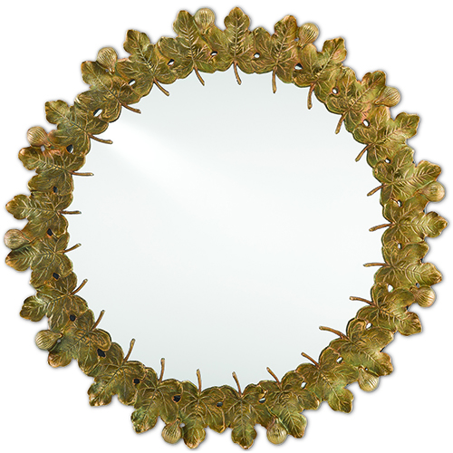 Figuier Patina Brass Round Mirror