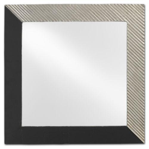 Calum Antique Nickel and Matte Black Square Mirror
