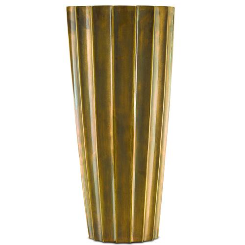 Antique Brass Fluted Vase