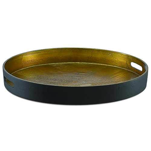 Thatcher Antique Brass and Black 21-Inch Tray