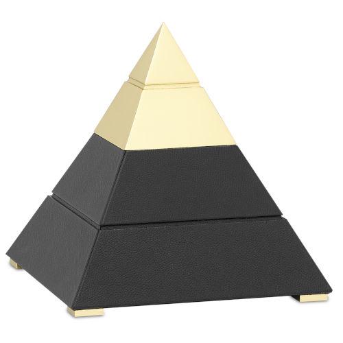 Mastaba Black and Polished Brass Small Pyramid