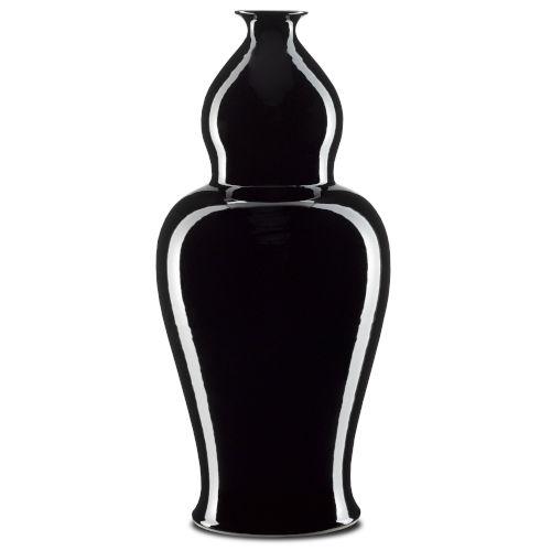 Imperial Black Large Elongated Double Gourd Vase
