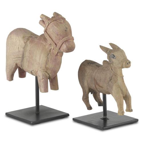 Nandi Natural and Black Cow Figurine, Set of 2