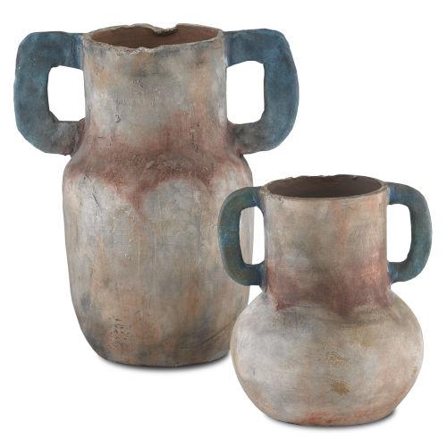 Arcadia Sand and Teal Vase, Set of 2