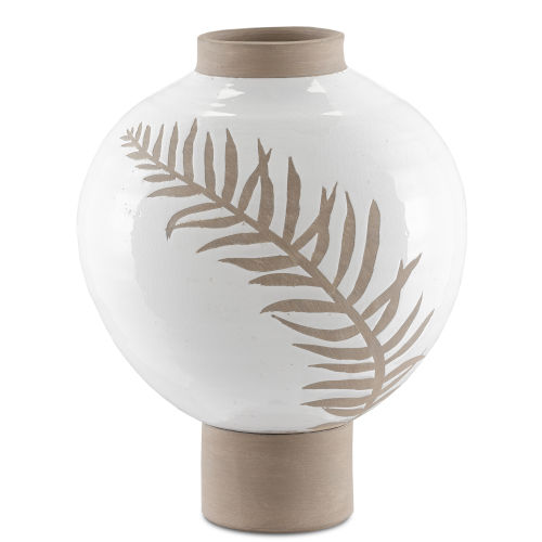 White and Tan Large Fern Vase