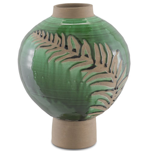 Emerald Green and Tan Large Fern Vase