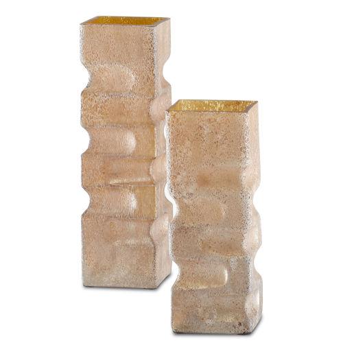 Mandarin Coral Sands Modernist Vase, Set of 2