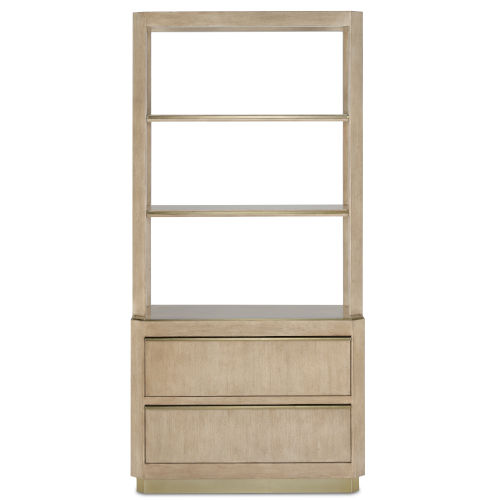 Bali Light Wheat and Brushed Brass Storage Etagere