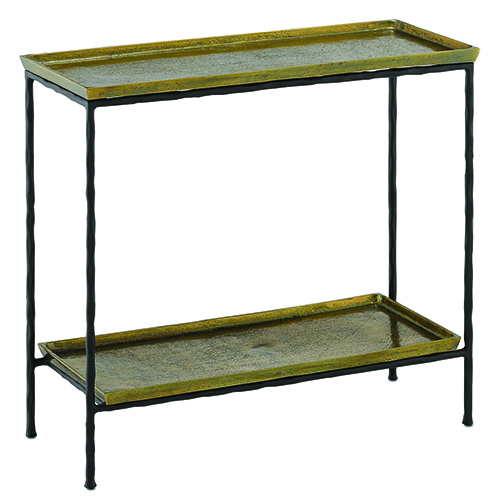 Boyles Antique Brass and Black Side Table