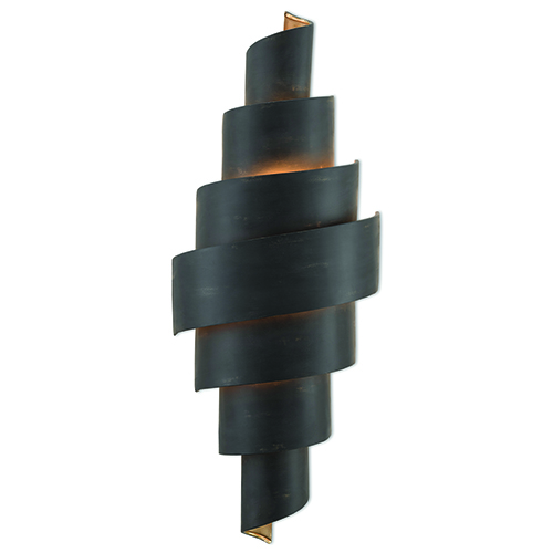 Chiffonade French Black and Painted Gold Two-Light Wall Sconce