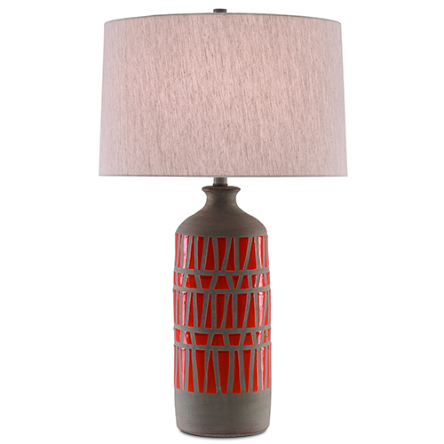 Cueva Natural, Orange and Gray One-Light Table Lamp