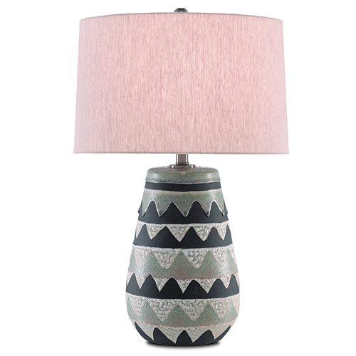 Ute Light Olive and Antique Nickel One-Light Table Lamp
