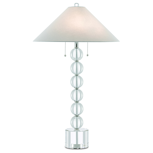 Coventry Clear and Polished Nickel Two-Light Table Lamp