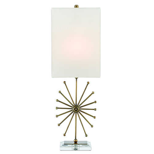 Jewella Antique Brass and Clear One-Light Table Lamp