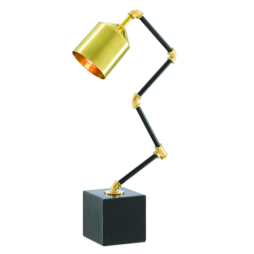 Mikhael Polished Brass and Black Granite One-Light Table Lamp
