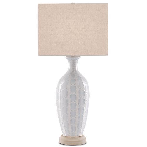 Saraband Sky Blue and Cream One-Light Table Lamp
