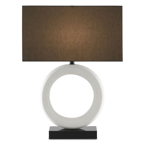 Kirkos Gesso White and Glossy Black One-Light Table Lamp