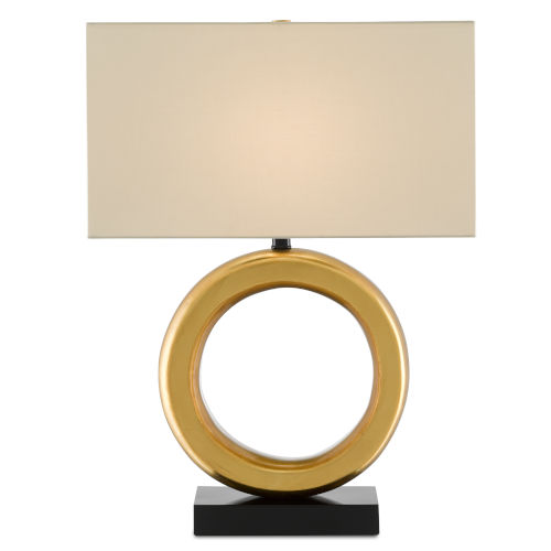 Kirkos Painted Gold and Glossy Black One-Light Table Lamp