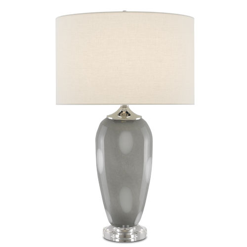 Polydore Dark Gray White Polished Nickel One-Light Table Lamp