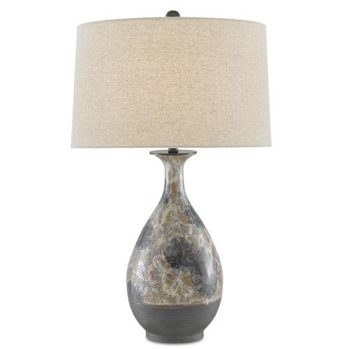 Frangipani Cream Blue Brown One-Light Table Lamp