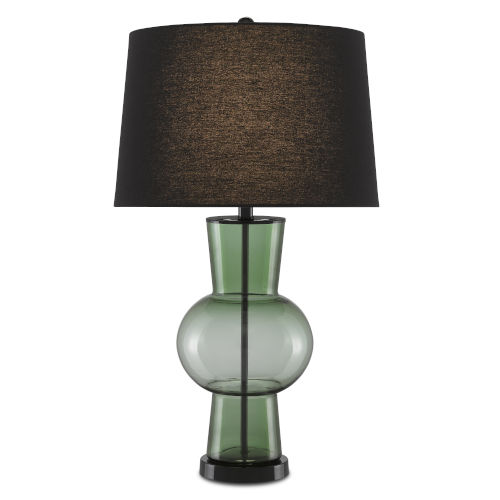 Dumfries Transparent Green Glossy Black One-Light Table Lamp