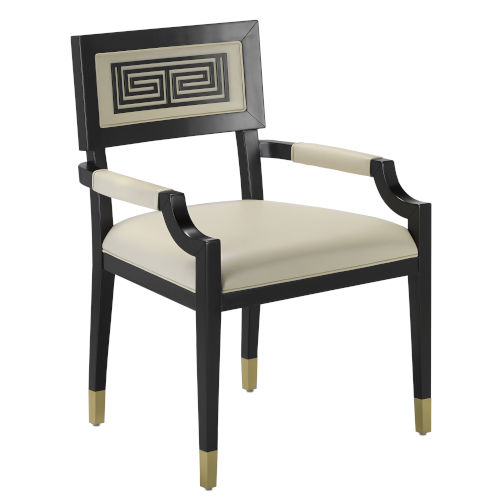 Artemis Caviar Black and White Leather Chair