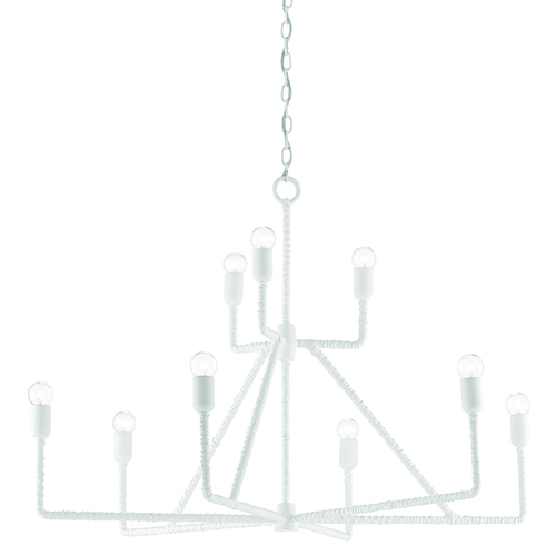 Currey And Company Phone Number: Currey & Company Gesso White Nine Light 39 Inch Chandelier