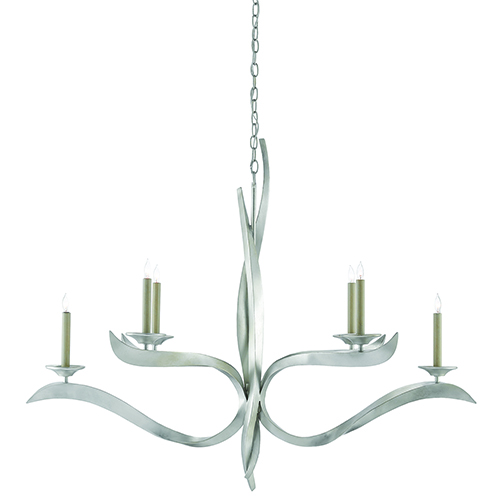 Currey And Company Phone Number: Currey & Company Silver Leaf Six Light Chandelier 9000