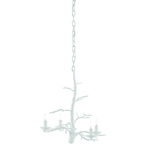Treetop Gesso White Four-Light Chandelier