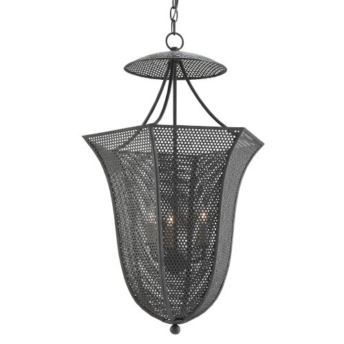 Obidah Mole Black Three-Light Lantern Chandelier
