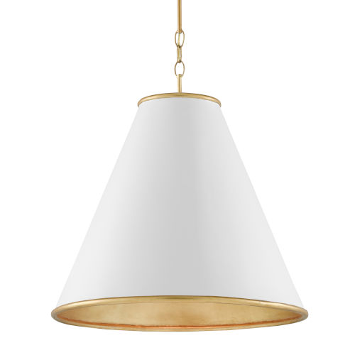 Pierrepont Gesso White and Gold One-Light 22-Inch Pendant