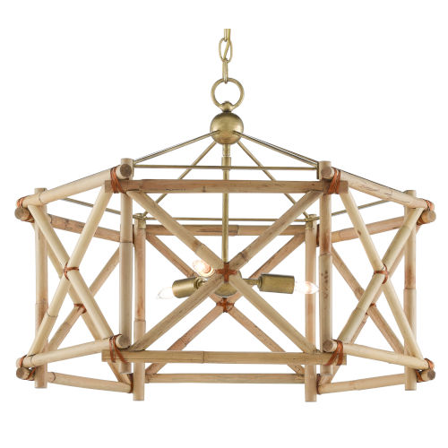 Kingali Natural Three-Light Lantern Chandelier