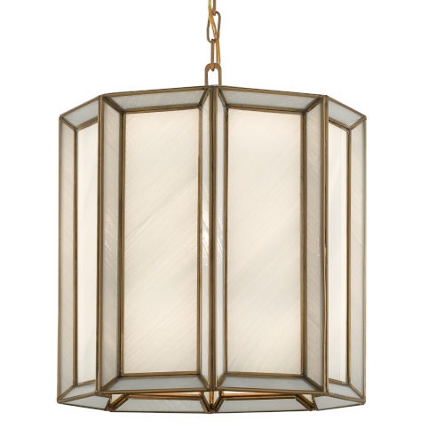 Daze Antique Brass and White One-Light Pendant