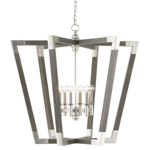 Bastian Chateau Gray and Silver Six-Light Chandelier